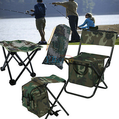Fishing W/ Packing Bag Backpack Camping Foldable Stool Seat Chair Camo EB