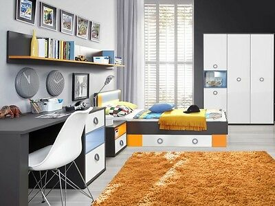 jugendzimmer colors 5tlg mit 140er bett kinderzimmer. Black Bedroom Furniture Sets. Home Design Ideas