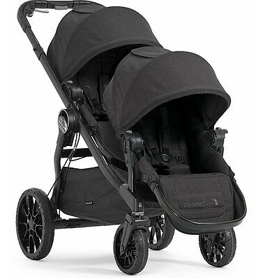 Baby Jogger City Select Lux Twin Tandem Double Stroller w Second Seat Granite