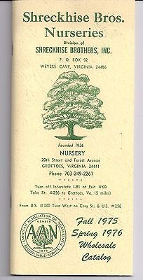 1976 SHRECKHISE BROTHERS NURSERIES Weyers Cave VIRGINIA Wholesale Catalog