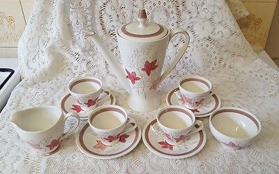 Burleigh Ware Burgess & Leigh Coffee Pot, 4 Cups&Saucers Milk & Sugar~Edinburgh