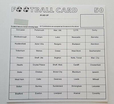 10 x 50 TEAM FOOTBALL FUNDRAISING SCRATCH CARDS GREAT QUALITY