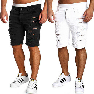 Mens Ripped Jean Denim Shorts Cargo Destroyed Trousers Short Pants LD