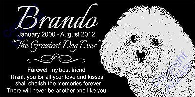 "Personalized Bichon Frise Dog Pet Memorial 12""x6"" Granite Grave Marker Headstone"