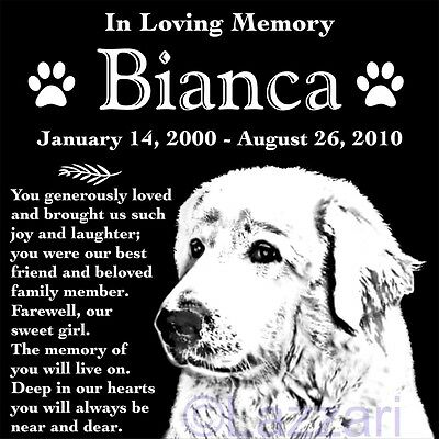 "Personalized Great Pyrenees Dog Pet Memorial 12"" Granite Grave Marker Headstone"