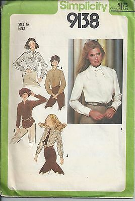 Simplicity Sewing Pattern #9138, Misses Shirts, Size 16, Uncut, Instructions