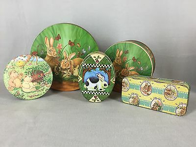 Easter Tins With Lids Lot of 5 Assorted Designs Shapes Sizes Bunny Rabbits