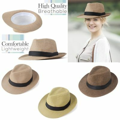 Men Women Panama Wide Brim Trilby Straw Cap Sun Hat Beach Summer Sunhat