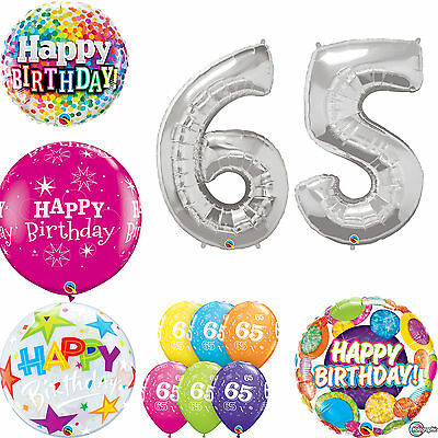 Age 65 - Happy 65th Birthday Qualatex Balloons {Helium Party Balloons Boy/Girl}