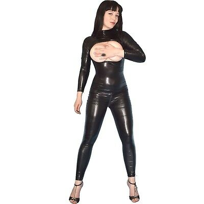 brustfreier CATSUIT in Lack schwarz* Gr. S * Ganzanzug/ wetlook Body* Overall