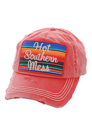 Distressed Country Vintage Style Hot Southern Mess Baseball Cap Hat Red
