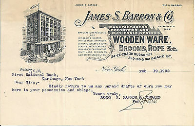 1902 Barron & Co. Wooden Ware, Brooms & Rope New York Illustrated Letterhead