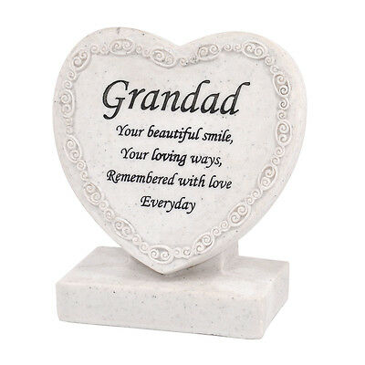 Grandad Remembered Heart Shaped Memorial Grave Plaque Cremation Marker