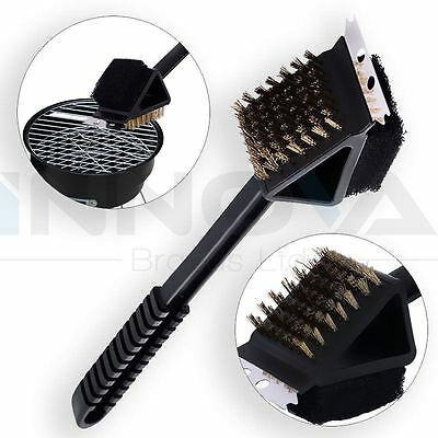 Barbecue BBQ Oven Grill Bristles Cleaning Stiff Brush Scraper Cleaner 3 in 1