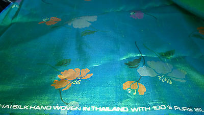 "Vtg 3Yds 15"" Pure Silk Fabric Hand Woven  Blue Green Background Flowers #116"