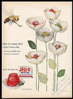 1954 Jello Jell-O hungry bee and flowers color art vintage print ad