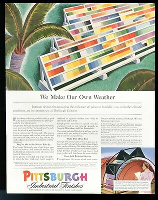 1941 Pittsburgh Paint industrial finish wide scale color chart vintage print ad