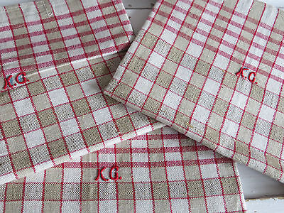"""Unused Set Of Three  ( 3 ) Checkerboard  Linen Towels  Napkins 21 """" by 20 """""""