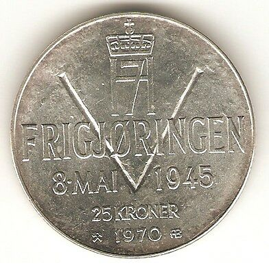 1970 NORWAY SILVER Coin 25 KRONER - Ann. of Liberation - KM# 414 *