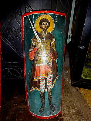 Greek Folk Art Painting on Antique Roof Tile Agiografia keramidi Ag. Theodoros