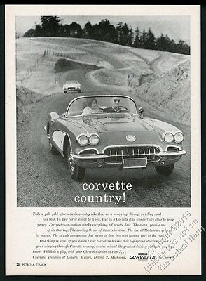 1960 Corvette convertible 2 cars country road photo Chevrolet vintage print ad