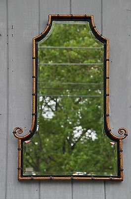 Hollywood Regency Style Faux Bamboo Beveled Mirror