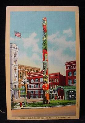 Totem Pole Pioneer Square Seattle Washington 1940 Postcard Stamp Seattle Cancel