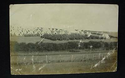 Pre WW1 Real Photo Postcard Military Tent Camp Soldiers In Formation