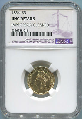 1854 $3 Dollar Gold Princess. NGC Unc Details