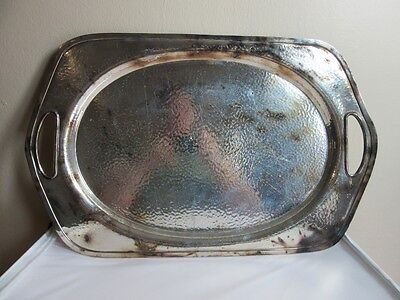 Vtg Apollo hammered silverplate serving platter. Bernard Rice's Sons BRS