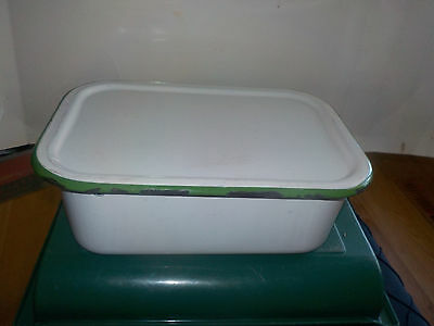 """Enamelware White With Green Trim Ice Box Tray Size 13  By 8.5 By 4.5"""" Vintage"""