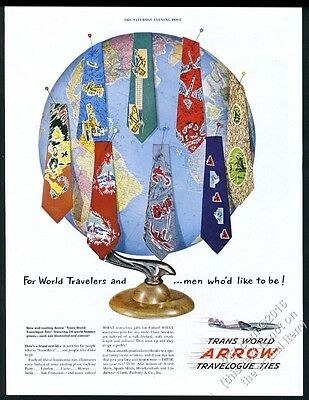 1950 TWA airlines plane Trans World men's ties globe photo vintage print ad
