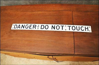 Vintage INDUSTRIAL METAL SIGN Danger Do Not Touch white enamel wall art factory