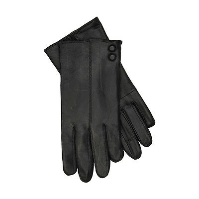 JENDI Ladies Size XL Black Genuine Leather Lined Winter Gloves w Buttons