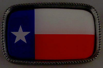 TEXAS STATE FLAG Antique Silver Belt Buckle USA MADE TX lone star