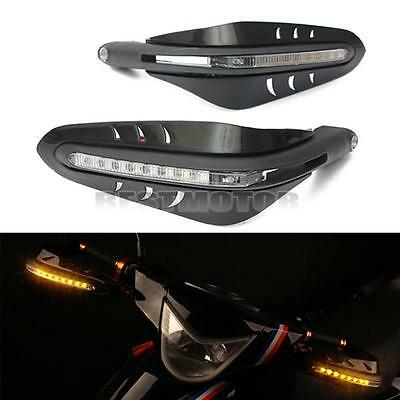 Motorcycle Led DRL Turn Signal Light Handle Brush Bar Hand Guard Protector Cover
