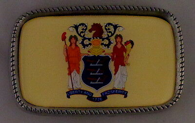 NEW JERSEY NJ STATE FLAG Antique Silver Belt Buckle USA MADE