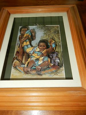 Beautiful 3 D Metal Art Aboriginal Children Framed