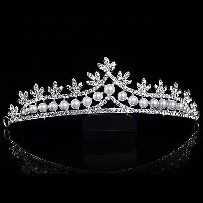 Bridal Rhinestone Pearl Crystal Hair Tiara Crown Veil Headband Princess Wedding