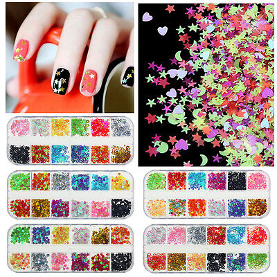 12 Mix Colours Nail Art Craft Acrylic Fine Star Glitter Sequins Tips Decoration