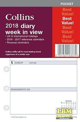 Collins 2018 Pocket size Diary - Week To View Insert Organiser Refill KT3700-18