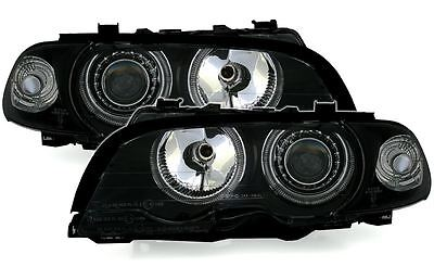 For BMW 3 Series E46 Coupe 1998-2003 Black Halo Angel Eyes Headlights Pair