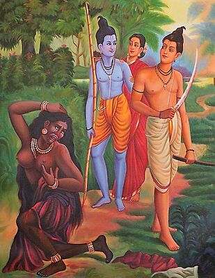 A Color Symbolic Episode from the Ramayana - Oil on Canvas - Artist Giri Raj