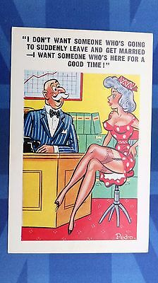 Risque Comic Postcard 1960s LARGE BOOBS Nylons Stockings Garter OFFICE Theme