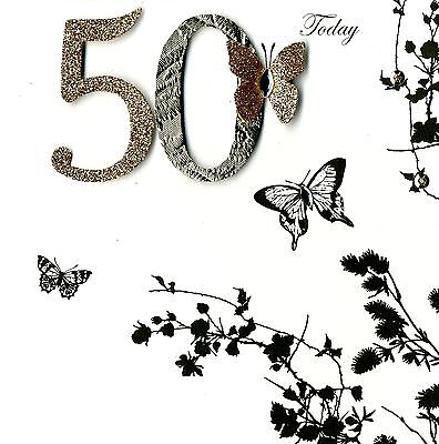 50 Today 50th Birthday Embellished Greeting Card Hand-Finished Cards