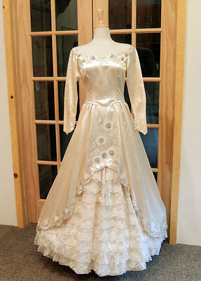 1943 2 Pc SATIN BEADED WEDDING DRESS-AUTHENTIC-RUFFLED TIERED GOWN-ILLUSION NECK