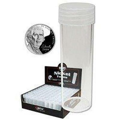 10  BCW Round Clear Plastic Nickel Coin Tubes with Screw on Cap