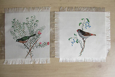 7 birds hand-painted Chinese-style  on silk squares