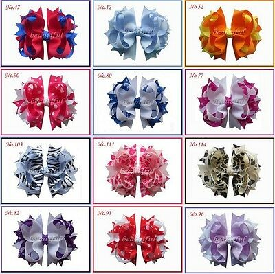 "50 BLESSING Good Girl Hair Accessories Baby 4.5"" A- Blossom Bow Clip 117 No."