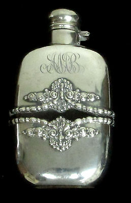 CA 1890's ALVIN LARGE STERLING SILVER OVER CRYSTAL FLASK - REMOVABLE BOTTOM CUP